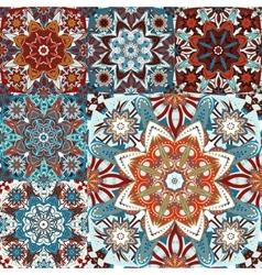 Islamic damask backgrounds colorful set beautiful vector image