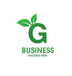 letter g with leaf logo vector image vector image