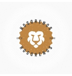Lion head hand drawn design element in vintage vector