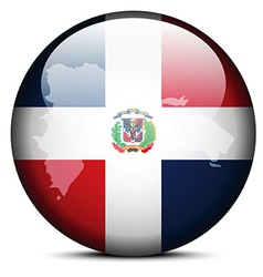 Map on flag button of dominican republic vector