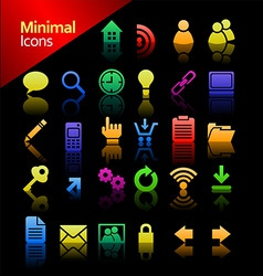 media minimal icon set vector image