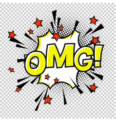 Omg comic sound comic speech bubble halftone vector
