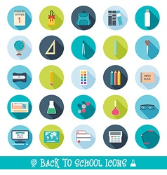 Set of school and education icons with shadows vector image vector image