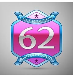 Sixty two years anniversary celebration silver vector