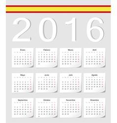 Spanish 2016 calendar with shadow angles vector