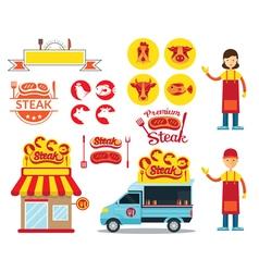 Steak shop graphic elements vector