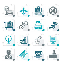 Stylized airport and transportation icons vector