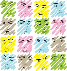 texture faces of women vector image