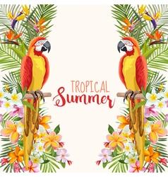 Tropical flowers parrot bird tropical background vector
