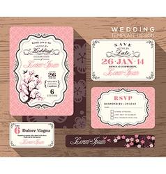 Vintage floral wedding invitation set template vector