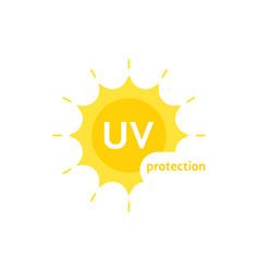 Yellow uv protection logo on white vector