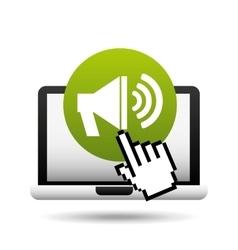 Laptop speaker and cursor hand design vector