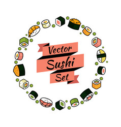 Rounded sushi set vector