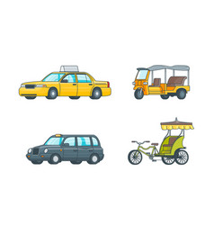 Colorful taxi transport collection vector