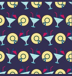 cocktails summer seamless pattern vector image