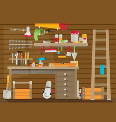 Workspace carpenter tools trendy flat icon on vector