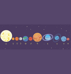 Planets solar system in order vector