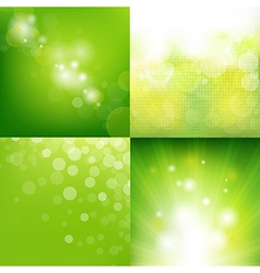 Green eco background with blur set vector