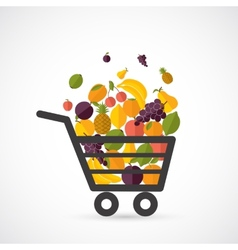 Shopping cart with fruits vector