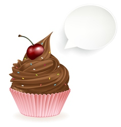 Chocolate speech bubble cupcake vector