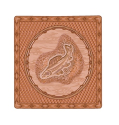 Salmon fish predator woodcarving vector