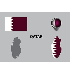Map of qatar and symbol vector