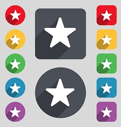 Favorite star icon sign a set of 12 colored vector