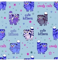 Cute cats seamless background vector