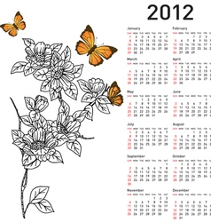 calendar for 2012 with flowers vector image