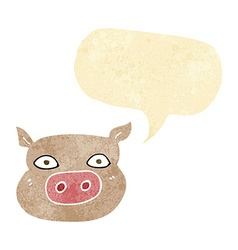Cartoon pig face with speech bubble vector