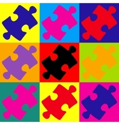 Puzzle piece flat icon vector