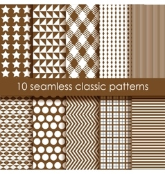 Set of 10 brown seamless geometric patterns vector