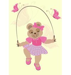 Bear girl in crimson dress and butterflies vector