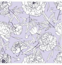 beautiful peonies seamless pattern blossom vector image vector image