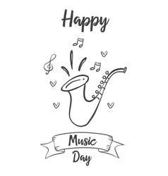 Celebration music day card style vector