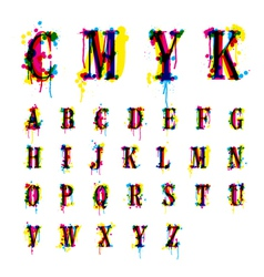 Cmyk drops and streaks alphabet vector
