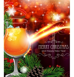 Cocktail on Christmas background vector image vector image