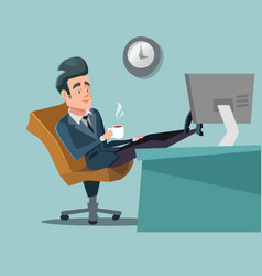 coffee break businessman relaxing vector image