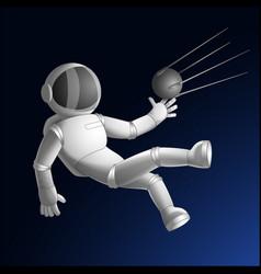 Cosmonaut catching sputnik vector