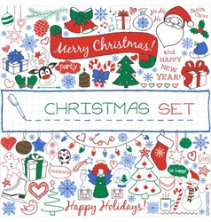 Doodle Christmas season icons and vintage graphic vector image