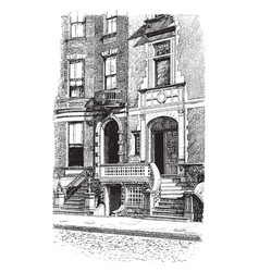 Doorways new york architecture vintage engraving vector