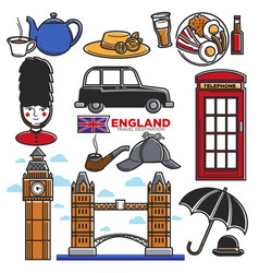 England uk travel destination famous tourist vector