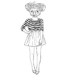 Fashion animal cute koala hipster girl character vector