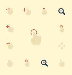 Flat icons press zoom out sensory and other vector