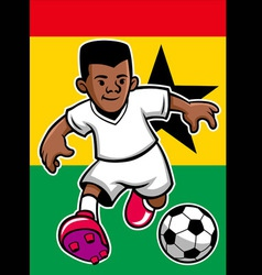 ghana soccer player with flag background vector image vector image