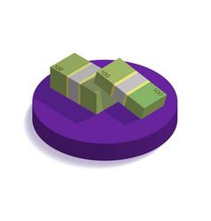 isometric dollars bundles on purple podium flat vector image vector image