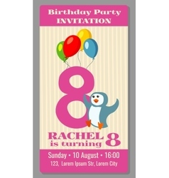 Kids birthday party cartoon animals invitation vector