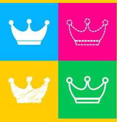 King crown sign four styles of icon on four color vector
