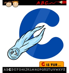 letter c with comet cartoon vector image vector image