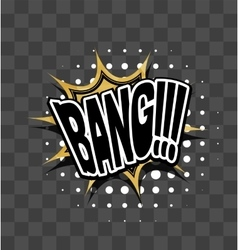 Lettering bang gold sparkle comic text vector